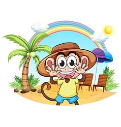 A monkey at the beach vector