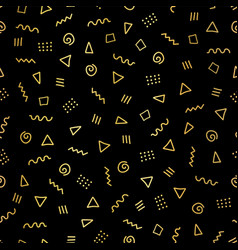 abstract memphis shapes gold foil seamless pattern vector image
