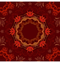 Abstract red floral background with round pattern vector
