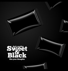 advertisement template black candies pack vector image