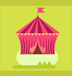 Amusement park circus tent flat design vector