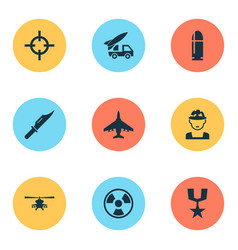 Army icons set collection of military dangerous vector