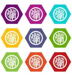 Asian salad icon set color hexahedron vector