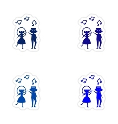 Assembly realistic sticker design on paper couple vector