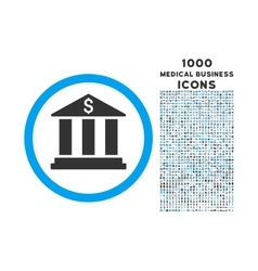 Bank Building Rounded Symbol With 1000 Icons vector