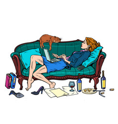 Beautiful woman at home with a cat working vector