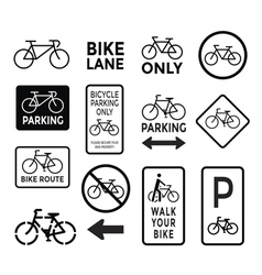 bicycle signs black and white set vector image