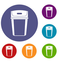 Big trashcan icons set vector