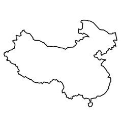 Black contour map of China vector