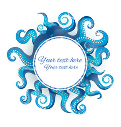 Blue tentacles round frame vector
