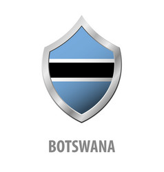 botswana flag on metal shiny shield vector image