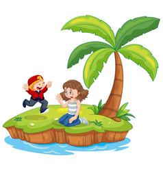 Boy and girl isolated on island vector