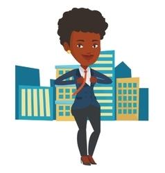 Business woman opening his jacket like superhero vector