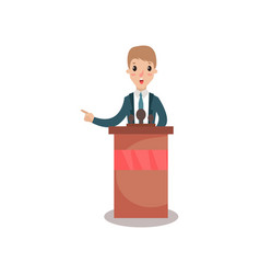 Businessman or politician character speaking to vector