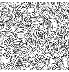 Cartoon cute doodles bathroom seamless pattern vector