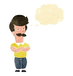 Cartoon mustache muscle man with thought bubble vector