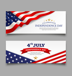 celebration flag america independence day banner vector image
