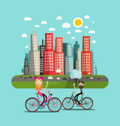 city with people on bicycles and skyscrapers vector image