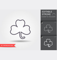 clover leaf line icon with editable stroke with vector image