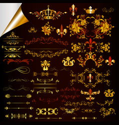 Collection of ornaments in gold color vector