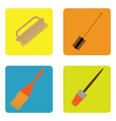 color icon set with brushes vector image