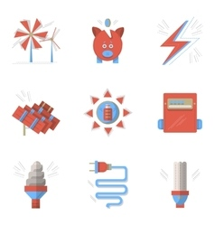 Colored flat icons for saving energy vector image