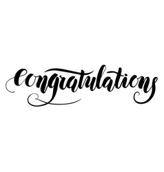 congratulations handmade lettering type vector image