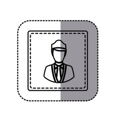 Contour emblem guard person icon vector