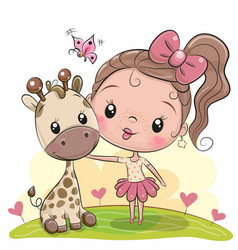 Cute cartoon girl with giraffe vector
