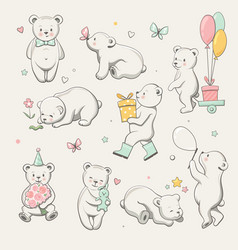 cute little bear collection vector image