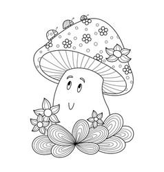 cute mushroom doodle coloring book page vector image
