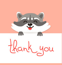 Cute raccoon says thank you vector image
