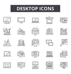 desktop line icons signs set outline vector image