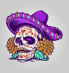dia de muertos mexican sugar skull vector image