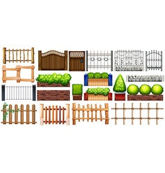 Different design of fence and wall vector image