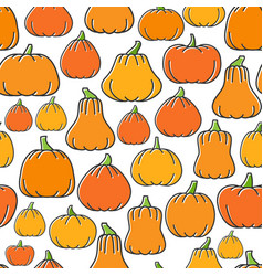 different shapes pumpkin harvest seamless pattern vector image