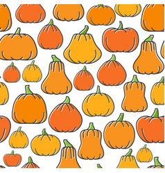 different shapes pumpkin harvest seamless pattern vector image