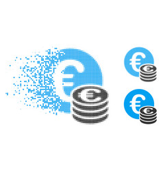 Dispersed dotted halftone euro coin stack icon vector