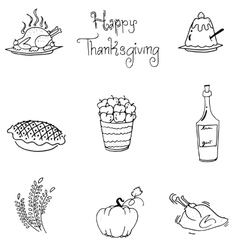 Doodle of thanksgiving food flat design vector