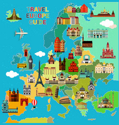 europe travel map vector image