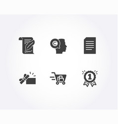 feather writer and document icons opened gift vector image