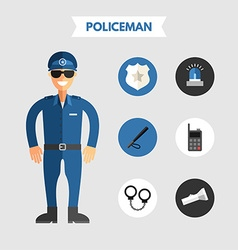 Flat Design of Policeman with Icon Set Infographic vector