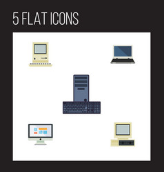 Flat icon laptop set of computer display vector