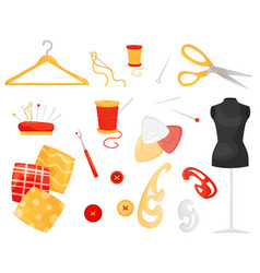 Flat set of different sewing items vector
