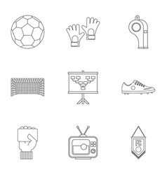 Football equipment icons set outline style vector