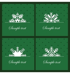 Four snowflakes on the green background vector image