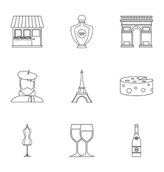 France Republic icons set outline style vector image