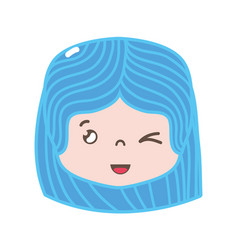 full color girl head with hairstyle and funny face vector image