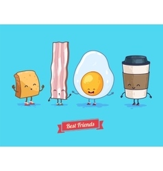 Funny cartoon Funny cup egg bacon vector