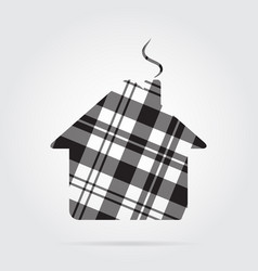 grayscale tartan isolated icon house with chimney vector image
